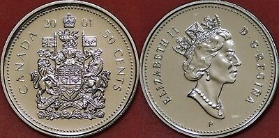 Brilliant Uncirculated 2001P Canada 50 Cents From Mint's Roll