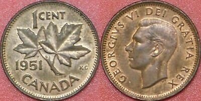 Brilliant Uncirculated 1951 Canada 1 Cent Maybe Toned
