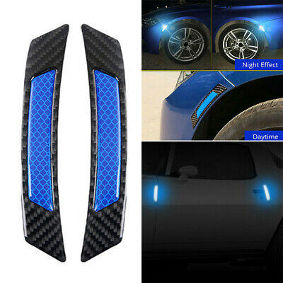 2pcs/set Car Door Edge Guard Reflective Stickers Tape Decal Safety Warning Decor