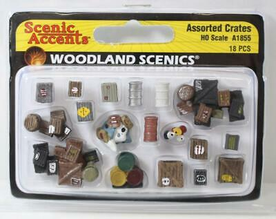 HO 1:87 Scale Woodland Scenics Assorted Crates A1855 New FNQHobbys