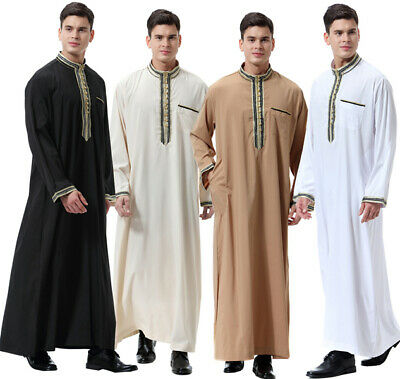 Mens Thobe Jubba Arab Robe Dishdash Islamic Clothing Long Kaftan Maxi Dresses