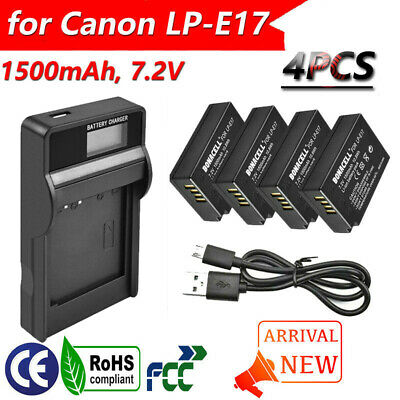 4x 1500mAh LP-E17 Battery + USB LCD Charger For Canon EOS M3 M5 M6 750D 760D GM