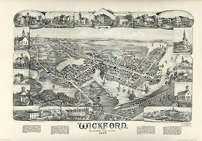 "16"" x 20"" 1888 Map of Wickford, Rhode Island"
