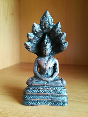 ANTIQUE KHMER STYLE CAMBODIAN WOODEN BUDDHA FIGURE SHELTERED by NAGA MUCHALINDA