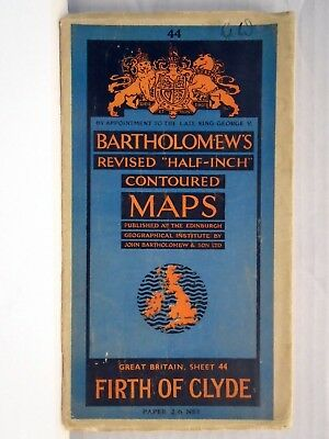 Bartholomew Half Inch Map FIRTH of CLYDE  Sheet 44  1946