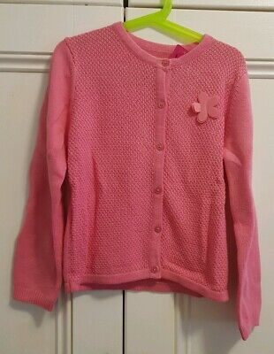 BNWT Girl's pink Cotton Cardigan Size 8-9 Years with glittery buttons & flower