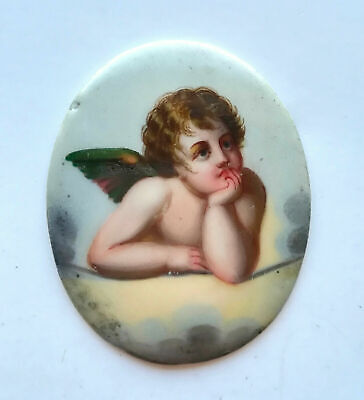 ANTIQUE 19th C. FRENCH HAND PAINTED OVAL PORCELAIN MINIATURE PORTRAIT of ANGEL