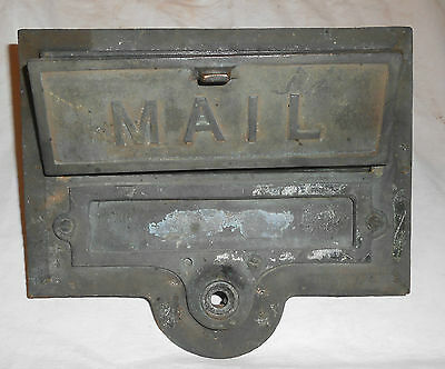 Antique Cast Brass Mail Slot W Doorbell Space Helm Co Saint Louis 12/1/1925 Pat