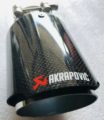 """Universal 3.5"""" Akrapovic Type Carbon Fibre Exhaust Tip Tailpipe Stainless Steel"""