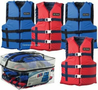 Adult Life Jacket Preserver 4-Pack Red & Blue USCG Type III Fishing Boating Vest