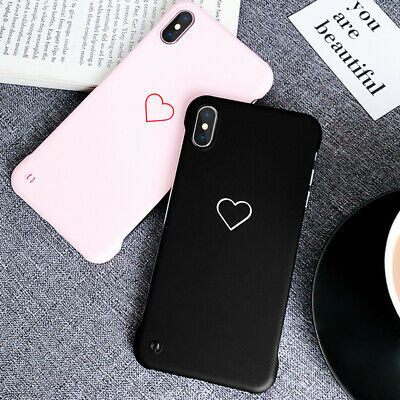 For iPhone XS Max XR X 6s 7 8 Plus Frameless Slim Couple Heart Hard Case Cover