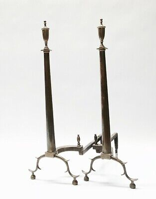 Antique Pair of Brass Empire Federal Long Fireplace Andirons 26""