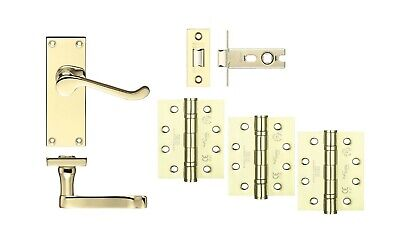 Victorian Scroll Polished Brass Handle Latch Set for 44mm Fire Doors C/w Hinges