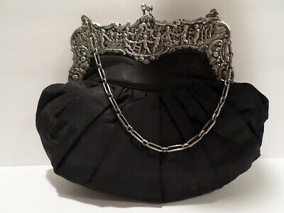 Silk and Sterling Silver Frame 19th Century Reticule Purse German
