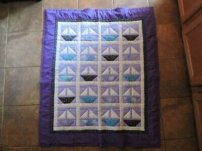 """Baby Quilt: 45"""" x 37"""" In. Purple Boat's"""