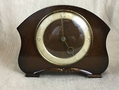 Art Deco Mantle Clock English Mid Century Wooden Smiths London Clockwork