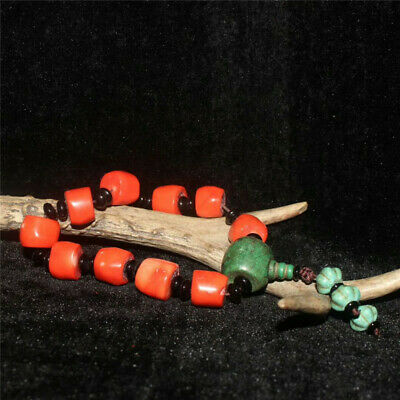 Collection Chinese Red Coral Turquoise beads Handmade Bracelet