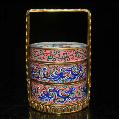 Collection Chinese copper gilt Cloisonne painted Child Food box basket
