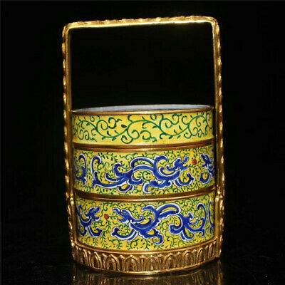 Collection Chinese copper gilt Cloisonne painted pattern Food box basket