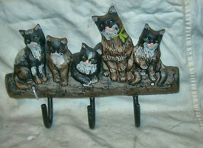 Cast Iron Rust Finish 5 Multi Color Cats Coat Hook (3 Black Hooks)