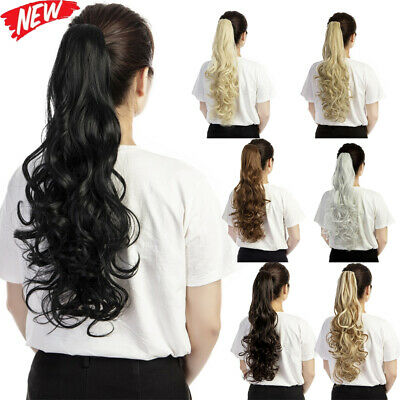 """New 24"""" Curly Clip Claw Ponytail Hair Extension Synthetic Hairpiece Clip Cosplay"""