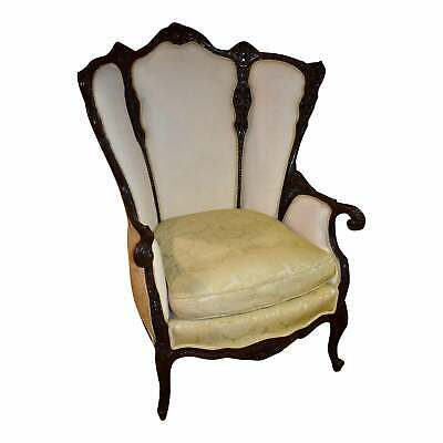 Antique Ornate Two Tone French Style Parlor Chair w/Carved Faces