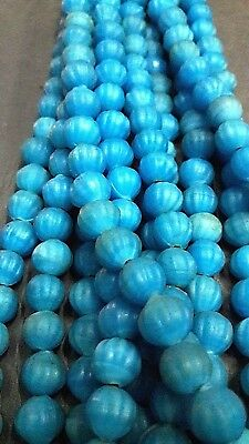 10mm Old Fluted Round Melon Shape Turquoise Mosaic Roman Glass Beaded Necklaces