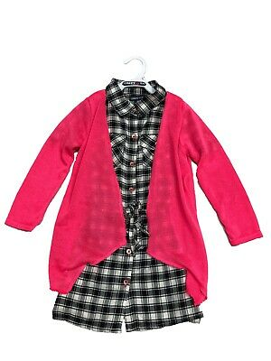 NWT Limited Too Girls' Black & White Plaid Dress with Pink Knit Sweater 4-6X