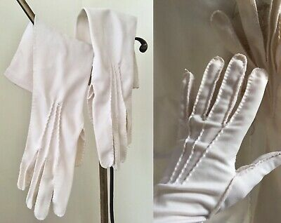 Vintage 1950s Formal White Cotton Blend Elegant Elbow Length Dress Gloves