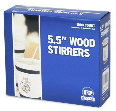 "Royal 1000 Count 5.5"" Wood Coffee Beverage Stirrers, NEW"