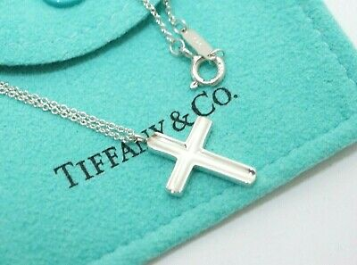 Tiffany & Co. Sterling Silver Concave Cross Pendant Necklace