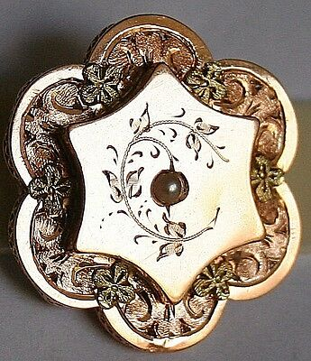 ANTIQUE VICTORIAN FRENCH BI COLOR 18k GOLD PEARL FLOWER FINE BROOCH PIN c1880