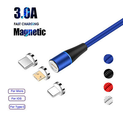 360° Round Magnetic Cable 3A Fast Charger Sync USB-C Micro IOS For iPhoneXS X 8