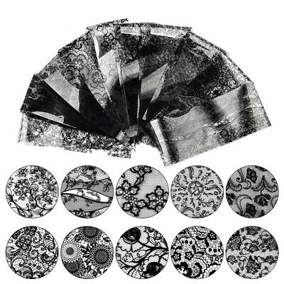 48 Sheet Black Flower Lace Nail Art Water Transfer Decal Sticker Nail DIY Decor