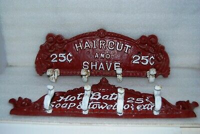 Haircut and Shave & Hot Bath Cast Iron Wall Towel Holders  Cute Bathroom Decor