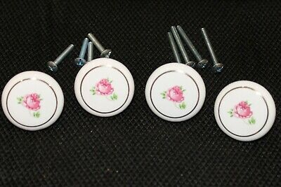 Eight Porcelain, Rose Design Door Drawer Knobs, Looks New, 36 available
