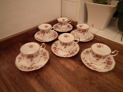 Queens Bone China Queens Rose Pattern Coffee Cups & Saucers Qty 6