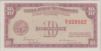 (N36-98) 1949 Philippines 10 Centavos bank note (CE)
