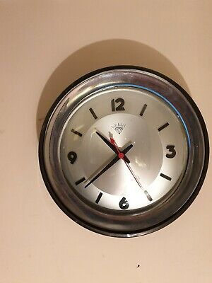 "Vintage Retro Electric Black & Chrome Metal 12"" Wall Clock Funky Cool Example"