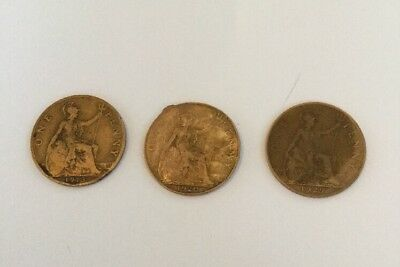 Great Britain Coins George V One Penny. 1913, 1920 & 1929  Circulated