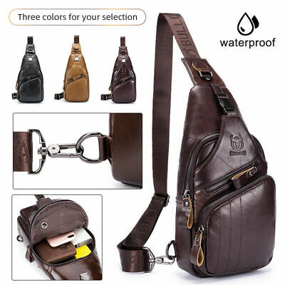 Bullcaptain Leather Men Crossbody Bag Messenger Bag Waterproof Anti-theft Pocket