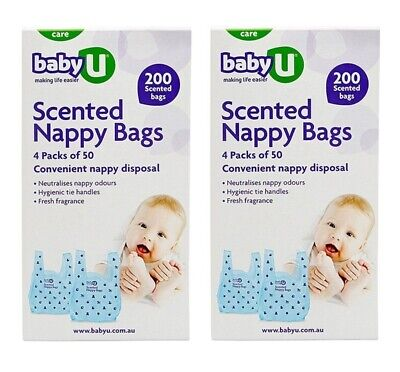 2 x Baby U Scented Nappy Bag 200 Bags Convenient Nappy Disposal