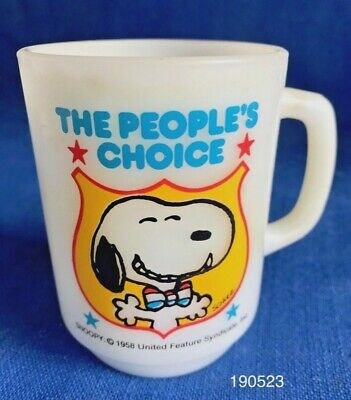 Vintage 1980 Anchor Hocking Fire King Snoopy For President Mug Cup #4 Peanuts VG