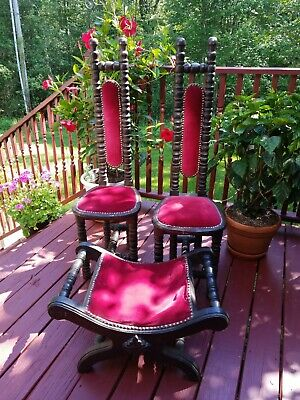 """Vintage Jacobean Style Hall Chairs """"Prayer Chairs"""" Gothic  + Curule chair Stool"""