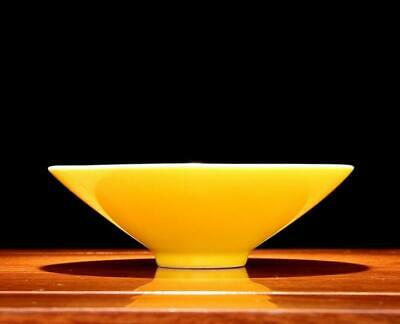 chinese old handmade Yellow glaze porcelain bowl 05218