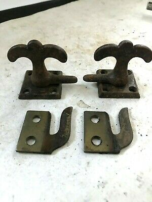 2 Antique Cast Iron  Arts Craft Craftsman Casement Window Door Latch Lock Catch