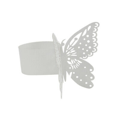 50x Napkin Ring Butterfly Paper Wedding Party Band Serviette Holder White
