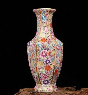 chinese old porcelain hand-painted Colored enamel flowers pattern vase 0502