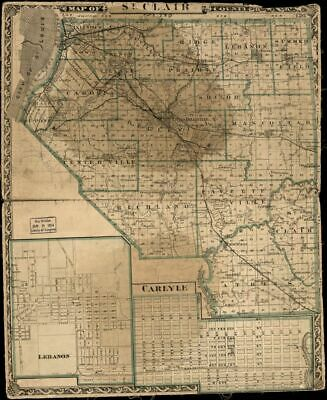 """20"""" x 24"""" 1875 Map of St. Clair County. Illinois"""
