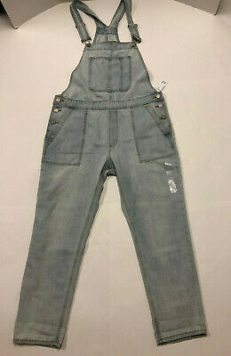 Nwt Womens Gap Light Blue Faded Denim Jean Overalls Large